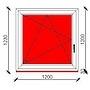 120x120 cm-es bukó-nyíló műanyag ablak