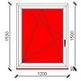 120x150 cm-es bukó-nyíló műanyag ablak