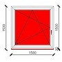 150x150 cm-es bukó-nyíló műanyag ablak